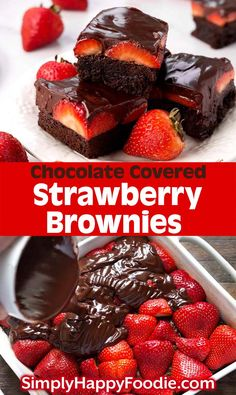 Strawberry Brownies are a delicious, chocolatey dessert recipe. If you like rich, chocolate brownies, then you will love these chocolate ganache strawberry covered brownies! Covered Strawberry Brownies are a delicious, chocolatey dessert recipe. Diy Dessert, Smores Dessert, Quick Dessert Recipes, Dessert Party, Dessert Dips, Easy Cake Recipes, Cool Recipes, Recipes For Desserts, Dessert Kabobs