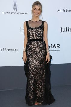 May 23 2013    Angela Lindvall in a black lace gown from the Alberta Ferretti autumn/winter 2013-14 collection and Repossi jewellery