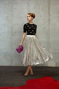 Sequined midi-skirt from the Alice + Olivia Pre-Fall 2014 Collection.