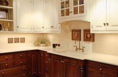 white upper cabinets wood lower - Google Search