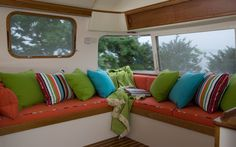 """I'm sharing Sunbrella Inspiration: """"Road Trip"""" Love these colors for inside the boat!"""