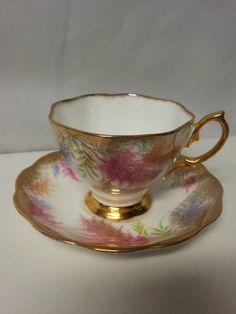 Royal Albert Bone China Teacup Saucer Pink Rich Gold Trim England | eBay