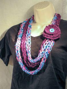 Purple Blue and Bright Pink Infinity Loop by WithLoveHandmadeKnit, $28.00
