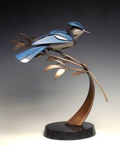 2014 Elected Sculptor Member 'Very Blue Jay' by Don Rambadt Metal Art Sculpture, Steel Sculpture, Abstract Sculpture, Bronze Sculpture, Art En Acier, Silverware Art, Spoon Art, Metal Art Projects, Deco Originale