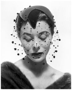Bettina wearing velvet veiled hat by Paulette, 1953, photo by Georges Dambier for the French magazine Arachne