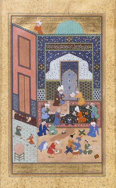 """""""Laila and Majnun in School"""", Folio from a Khamsa (Quintet) of Nizami  Author:Nizami (Ilyas Abu Muhammad Nizam al-Din of Ganja) (probably 1141–1217) Calligrapher:Sultan Muhammad Nur (ca. 1472–ca. 1536) Calligrapher: Mahmud Muzahhib Artist:Painting by Shaikh Zada A.H. 931/A.D. 1524–25 , Herat Ink, opaque watercolor, and gold on paper Painting: H. 7 1/2 in. (19.1 cm) W. 4 1/2 in. (11.4 cm)"""