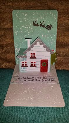Caz Counsell using the Pop 'n Cuts House insert and matching House Thinlits. Pop Up Christmas Cards, Pop Up Cards, Holiday Cards, Handmade Christmas, Christmas Crafts, Xmas, Epiphany Crafts, Tarjetas Pop Up, Step Cards
