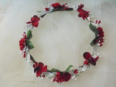 Winter Flower Crown Red and White Tiara by BunniesMadeOfBread on Etsy