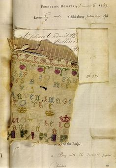 Foundling 14695. An embroidered sampler left with a boy named William Porter, admitted on the 6th of December in 1759 and died on the 27th of May in 1760.