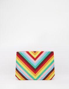 Image 1 ofMoyna Clutch Bag in Rainbow Chevron Print