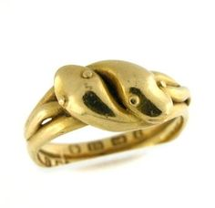 Victorian, circa 1891, double serpent ring in 18k gold.