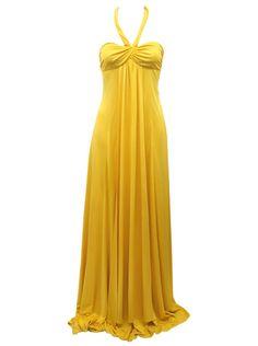 yellow dresses | Issa ladies bright yellow halterneck evening dress