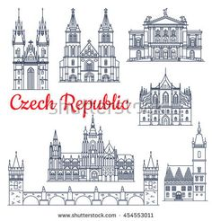 travel symbol Tattoo Etsy is part of Travel Symbols Etsy - Czech republic thin line travel historical landmarks Charles bridge on Vltava and Church of mother of God or our Lady before Tyn, metropolitan cathedral of Saints Vitus, Wenceslaus and Adalbert