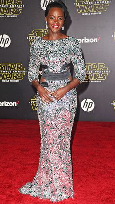 Lupita Nyong'o in a sparkling Alexandre Vaulthier dress at the Star Wars premiere