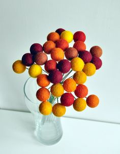 Thanksgiving flower set  - Pom Pom flowers, Fall Thanksgiving decor - Felt wool balls