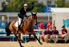 Day 15 - Italy's Adam Marosi riding Trinidad celebrates after competing in the riding event of the men's modern pentathlon during the London 2012 Olympics at Greenwich Park. BRIAN SNYDER/REUTERS