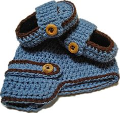 Crochet baby booties Baby boy set hat and booties by 2kute on Etsy, $36.00