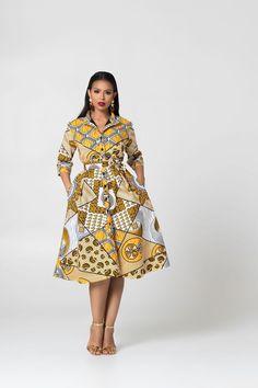 Grass-Fields Mid Lenght Dresses African Print Caroline shirt Dress - Women's style: Patterns of sustainability African Shirt Dress, Latest African Fashion Dresses, African Dresses For Women, African Attire, Ankara Fashion, African Print Clothing, African Print Fashion, Ankara Stil, Ankara Short Gown Styles