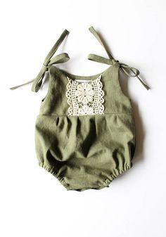 Linen & Lace romper/jumpsuit-olive green romper/jumpsuit- linen romper- lace romper/jumpsuit- toddle