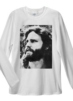 Jim Morrison Long Sleeve T-Shirt. Unisex T-Shirt: Made of 100% Pre-Shrunk Jersey Knit Cotton. Weight of the fabric 141g/m²
