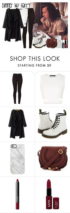 """""""Dinner w/ Harry"""" by luni-salazar ❤ liked on Polyvore featuring American Apparel, BCBGMAXAZRIA, Dr. Martens, Uncommon, Chloé, NARS Cosmetics and NYX"""