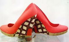 African print wedge shoes