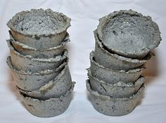 Paper pulp seed starting pots!!! All you need is paper, water, blender, and a muffin tin.