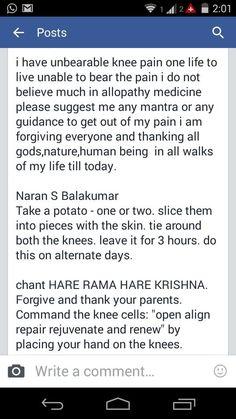 Hare Rama Hare Krishna for knee pain...  full mantra ' hare rama hare rama rama rama hare hare, hare krishna hare krishna krishna krishna hare hare '.
