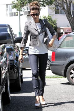 Kate Beckinsale casual --  skinnies, heels, tshirt, fitted jacket & updo. always so stylish