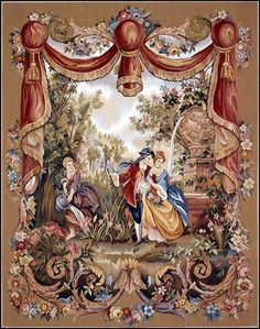 A Continental Tapestry. Depicting a courting couple with a maiden looking on. Medieval, Objet D'art, Wall Art Designs, Tapestry, House Accessories, Mini Mini, Carpets, Prints, Cross Stitch