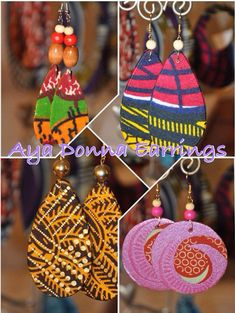 African Fabric Earrings by ayadonna on Etsy, $12.00