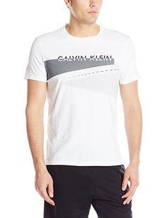 Calvin Klein Men's Short Sleeve Crew Neck Graphic Tees, White, Medium
