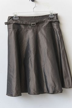 Kenneth Cole- 100% Silk Chocolate Brown skirt with Rhinestone belt- Size 8