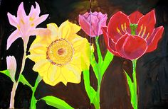 Flowers created with acrylic paint pens by Jane Davenport from Cloth Paper Scissors June 2014 Art Lesson