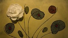 White lace singed flower painting