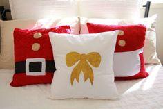 easy DIY Christmas pillows idea homemade christmas presents ideas Christmas Cushions To Make, Christmas Pillow, Christmas Sewing, Christmas Diy, Christmas Decorations, Gold Diy, Diy Ouro, Dyi Pillows, Ideas Decoracion Navidad