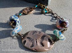 Butterly Bliss - Bronze and Lampwork Bracelet