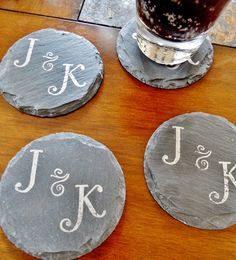 Personalized Slate Coasters Set of 4 for wedding, engagement and housewarming gifts!