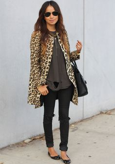 Coat: Zara | Jeans: Kova & T (DIY rips) | Tee: UNIF | Flats: Zara | Necklace: Jennifer Zeuner | Bag: Celine