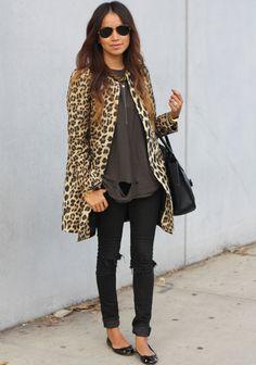 Coat: Zara | Jeans: Kova & T (DIY rips) | Tee: UNIF | Flats: Zara | Necklace: Jennifer Zeuner | Bag: Celine