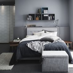 This is a Bedroom Interior Design Ideas. House is a private bedroom and is usually hidden from our guests. Much of our bedroom … Modern Grey Bedroom, Bedroom Black, Monochrome Bedroom, Bedroom Green, Double Bedroom, Ikea Bedroom, Bedroom Ideas, Bedroom Inspiration, Man Bedroom Decor