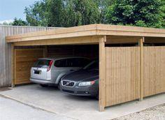 Carport bois Modern Line 5.93 X 6.55, Carport Toit Plat, Pergola - Kiosque - Chalet - Carport - Combier Paysage