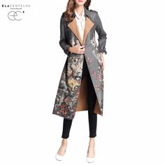 Daily Price $59.19, Buy ElaCentelha Women Trench Coats High Quality Long Sleeve Chamois Trench Coats Autumn Spring Ladies Landscape Painting Outerwear