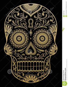 Ornate One Color Sugar Skull - Download From Over 27 Million High Quality Stock Photos, Images, Vectors. Sign up for FREE today. Image: 38877853