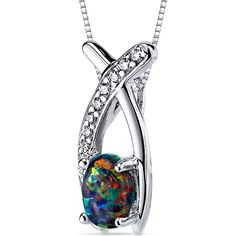 Created Black Opal Pendant Necklace Sterling Silver Oval Shape 0.75 Carats *** Unbelievable  item right here! : Fashion Jewelry