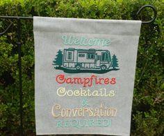 Garden Flags WELCOME Sign RV Campsite Garden by IdleTymeCreations