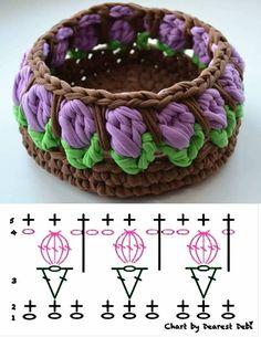 Como valorizar seu cesto de fio de malha - gráfico ponto tulipa