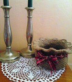 LiliAnna / Špagátový košík s vianočnou stuhou
