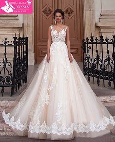 New Arrival Sexy A-Line Lace Wedding Dress 2017 Romantic Robe De Mariage Vestido De Noiva Sheer Backless Bride Dresses WJEN3