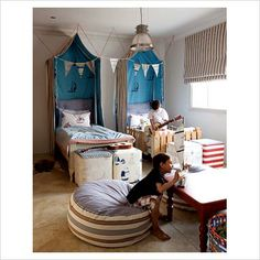 mini canopies for a little privacy in a shared room...love idea for a boy or girl room
